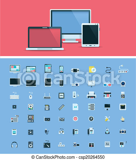 Computer hardware icon set - csp20264550