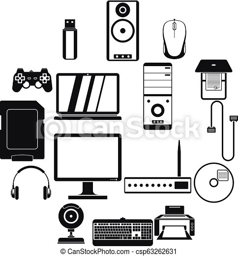 Computer icons set, simple style - csp63262631