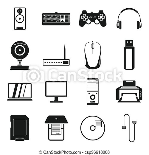 Computer icons set, simple style - csp36618008