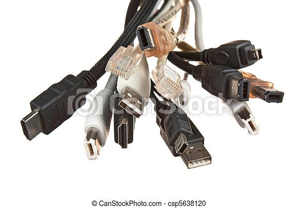 Computer kabelt, steckdosen, bündel. Freigestellt, edv, hintergrund ...