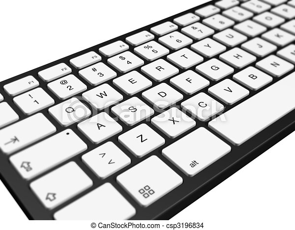 three dimensional computer keyboard isolated on white drawing rh canstockphoto com computer keyboard clipart picture computer keyboard images clip art