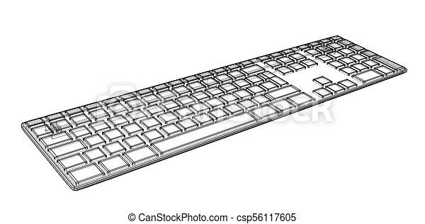 Computer Keyboard Outline Vector Rendering Of 3d Wire Frame Style The Layers Of Visible And Invisible Lines Are Separated