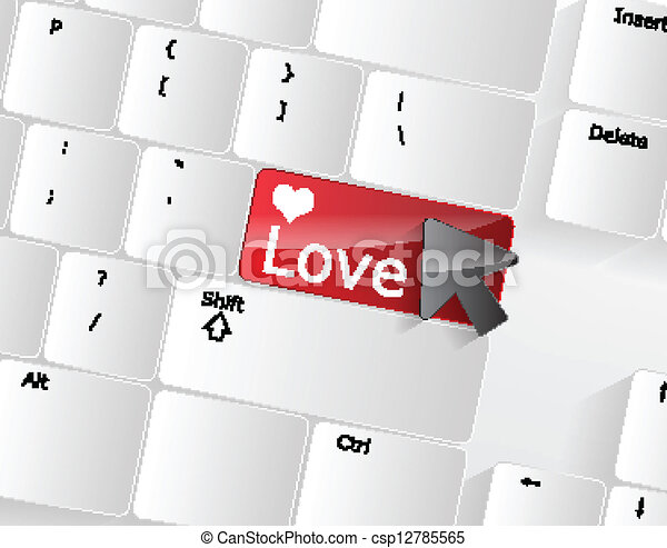 Computer keyboard - red key Love, close-up - csp12785565