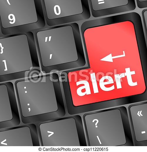 Computer keyboard with attention key alert - business background - csp11220615