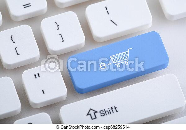 Computer keyboard with e-shopping button - csp68259514