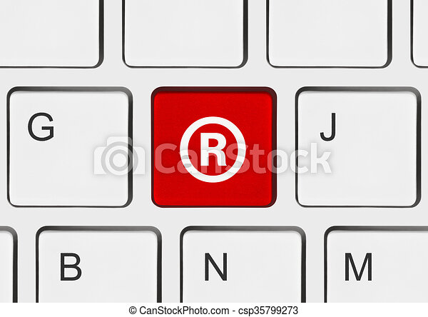 Computer Keyboard With Registered Mark Symbol Business Concept
