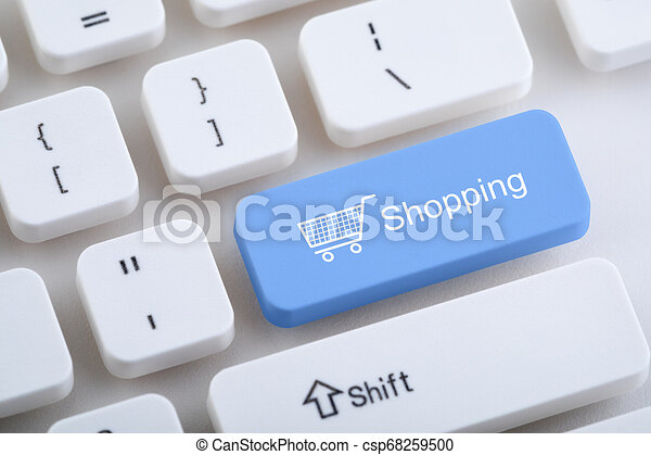 Computer keyboard with shopping button - csp68259500