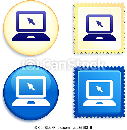 Computer Laptop on Stamp and Button - csp3519316