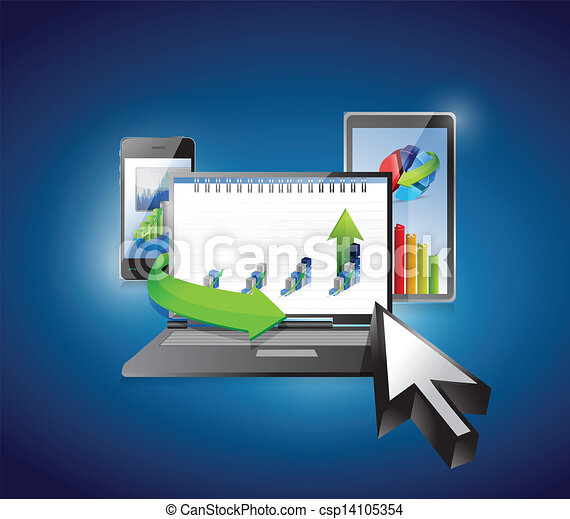 Computer, Laptop Tablet and Phone. business graphs - csp14105354