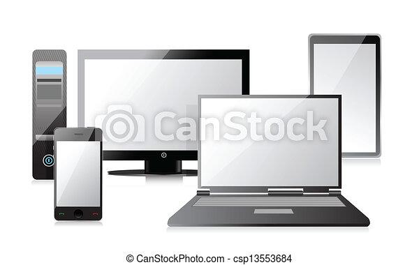 Line Art Laptop : Vector illustration carton parcel box and laptop with gps