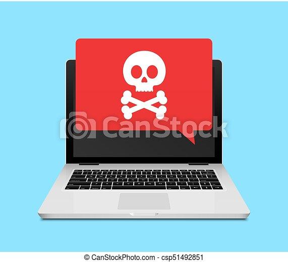 Computer laptop virus fraud or spam notification. Internet online virus alert icon - csp51492851