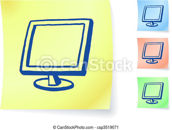 Computer monitor graphic on sticky note - csp3519071