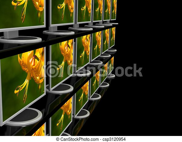 Computer monitor on black background - csp3120954