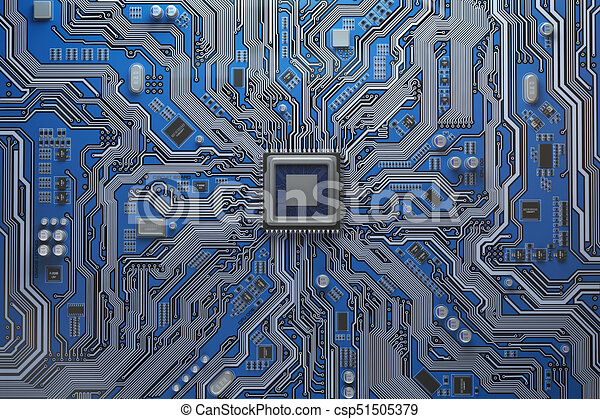 Computer motherboard with CPU. Circuit board system chip with core processor. Computer technology background. - csp51505379