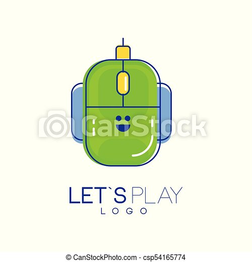 Computer mouse logo. Digital technology concept. Let s play. Linear icon with green and blue fill. Vector design for mobile app, developer company or device store - csp54165774