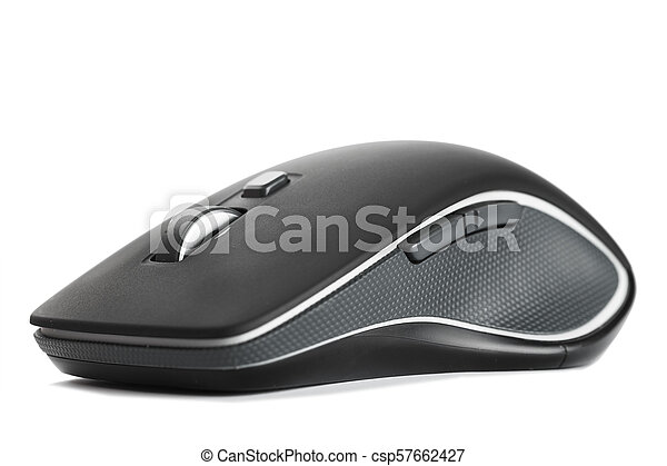 c56a298edbe Computer mouse on a white background. Black wireless mouse isolated ...