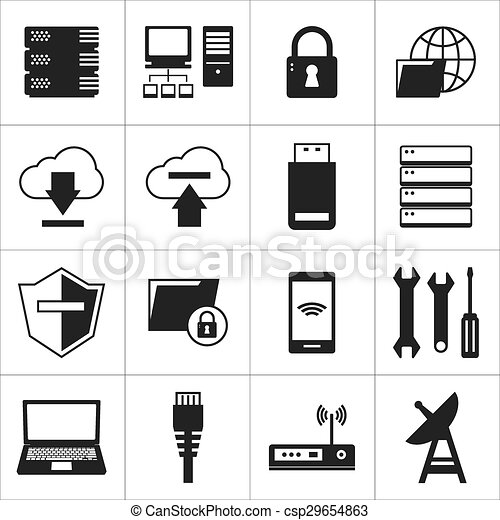 computer network and database icon - csp29654863