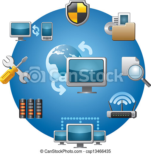 computer network icon set - csp13466435