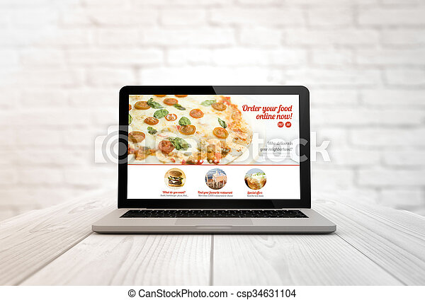 computer on a table order food online