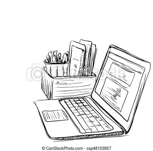 Computer on white background. Free hand drawn. - csp48103857