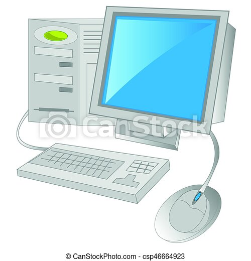Computer on white background - csp46664923