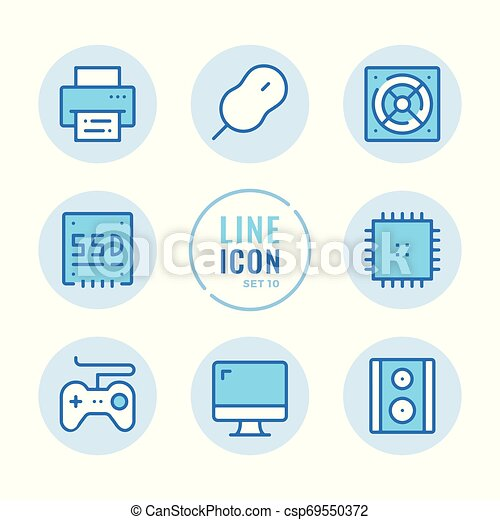 computer parts vector line icons set computer hardware monitor cpu mouse gamepad printer outline symbols modern simple can stock photo