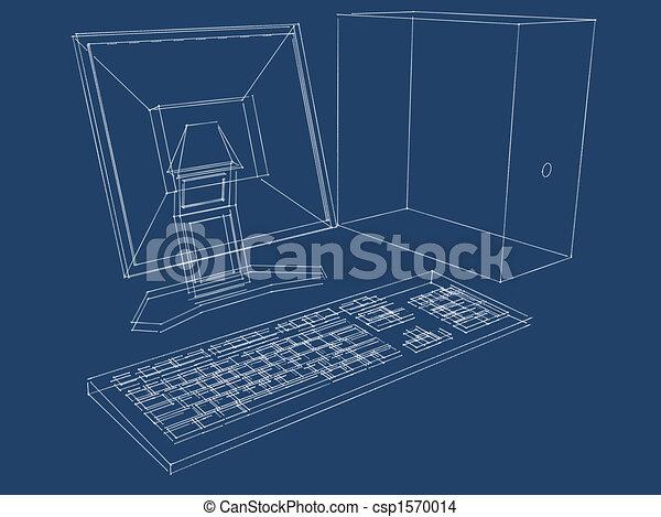 Computer plans blueprint blueprint of a computer lcd drawing computer plans blueprint csp1570014 malvernweather Choice Image