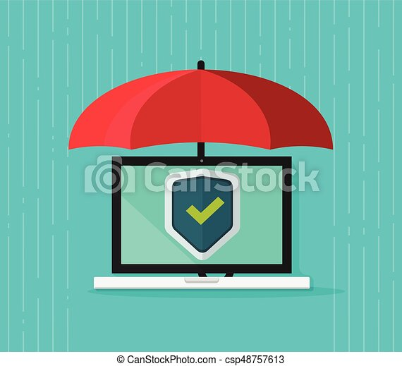Computer protection concept vector, flat cartoon laptop pc under umbrella and protecting shield on screen, antivirus banner, information safety, digital data privacy, malware security - csp48757613