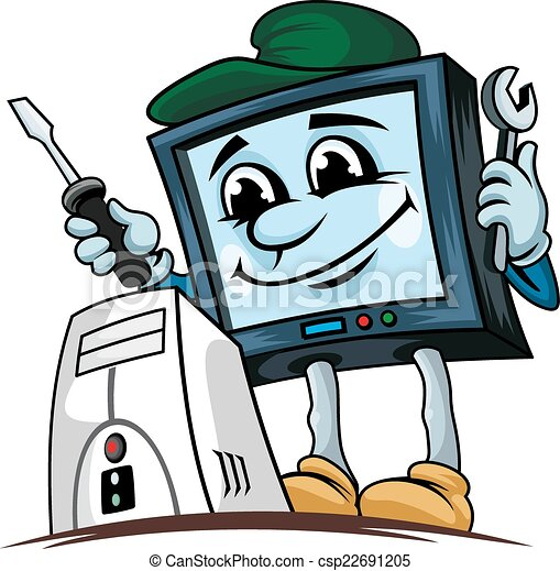 computer repair service cartoon computer for repair service rh canstockphoto com