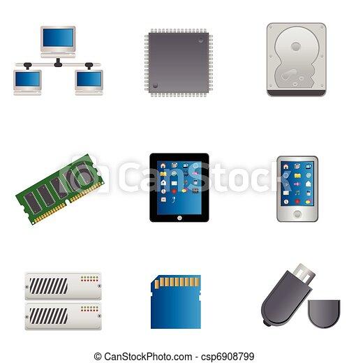 computer, sæt, dele, ikon - csp6908799