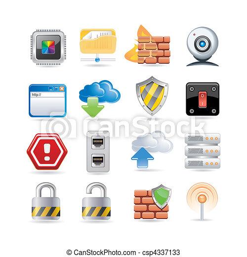 computer, sæt, netværk, ikon - csp4337133