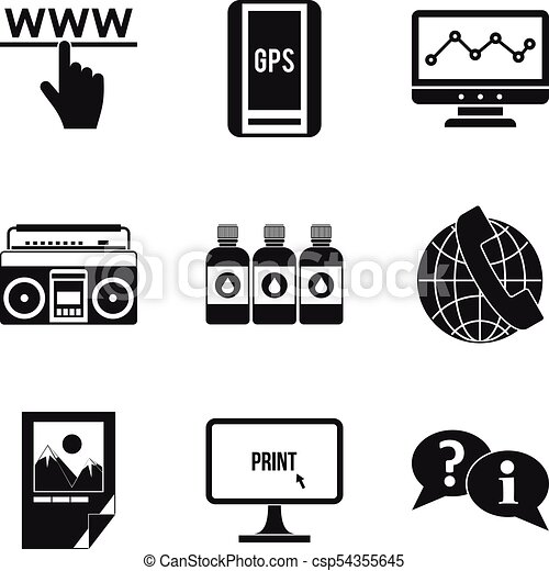 Computer Science Icons Set Simple Style