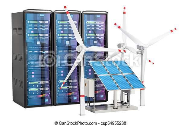 Computer server racks with solar panels and wind turbines, 3D rendering - csp54955238