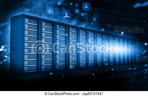 computer server room with binary data 3d render
