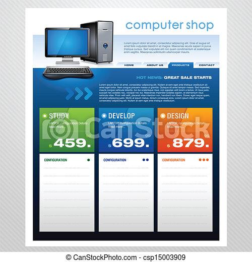 computer shop sale brochure templat a vector brochure design with a