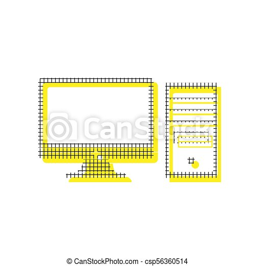 Computer sign illustration. Vector. Yellow icon with square patt - csp56360514
