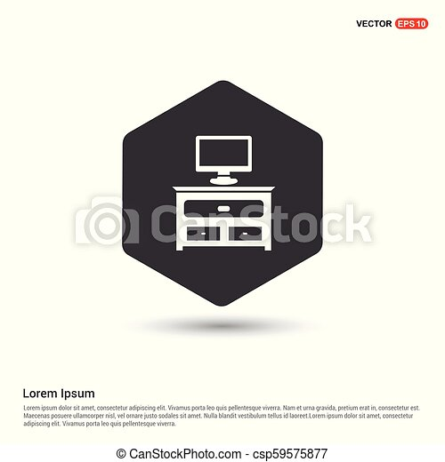 computer table icon hexa white background icon template free