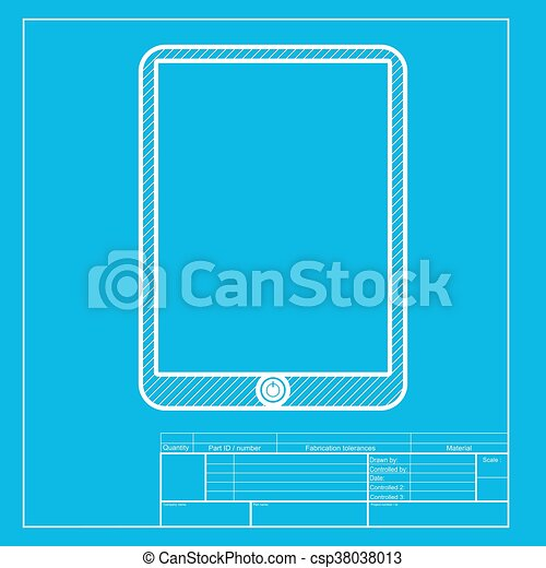 Computer tablet sign white section of icon on blueprint vector computer tablet sign white section of icon on blueprint template vector malvernweather Choice Image