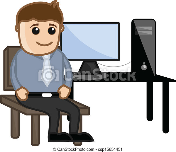 Computer Teacher with Computer - csp15654451