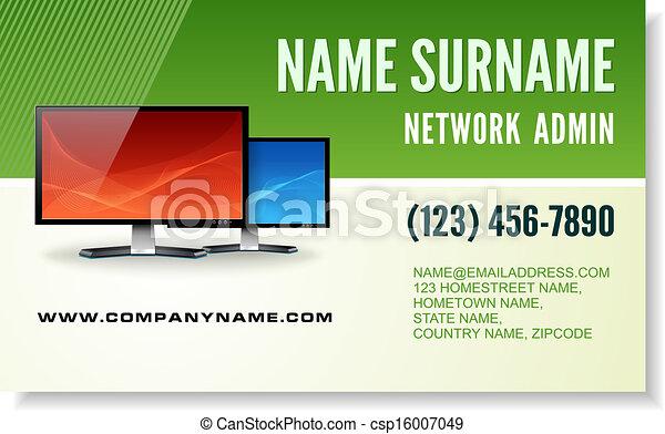 Computer tech business card information technology business eps computer tech business card csp16007049 reheart Gallery