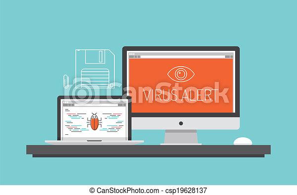 Computer virus alert concept illustration - csp19628137