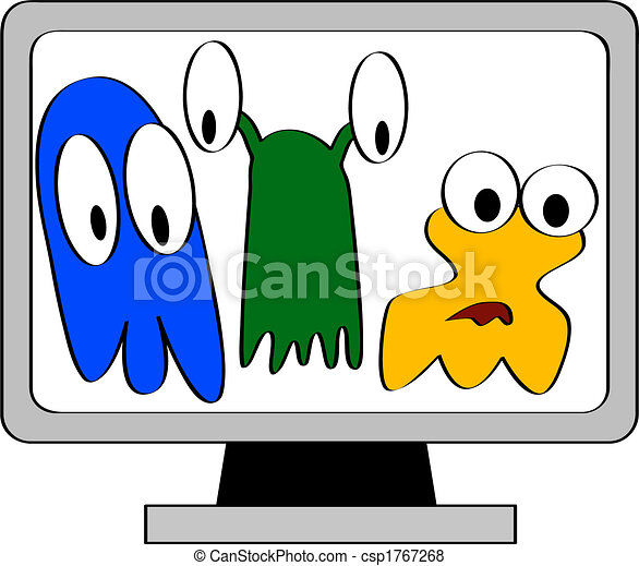 cartoon illustration of a computer monitor showing three vector rh canstockphoto com computer virus images cliparts Computer Desk Clip Art