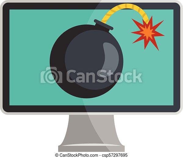 Computer virus icon, flat style - csp57297695