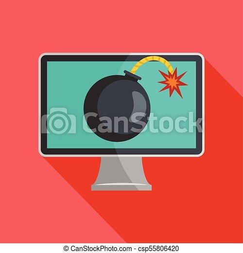 Computer virus icon, flat style - csp55806420