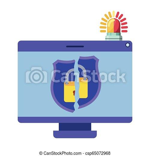 Computer virus scan avatar character - csp65072968