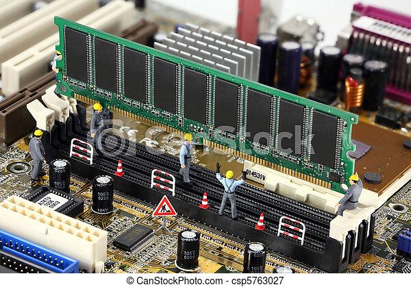 computer, werkmannen , installeren, bouwsector, geheugen, concept: - csp5763027