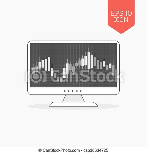 Computer With Candle Stick Graph Chart Icon Stock Exchange Trading