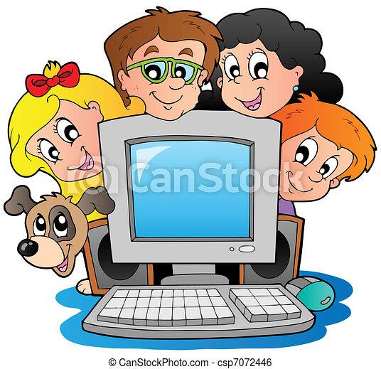 Computer with cartoon kids and dog - csp7072446