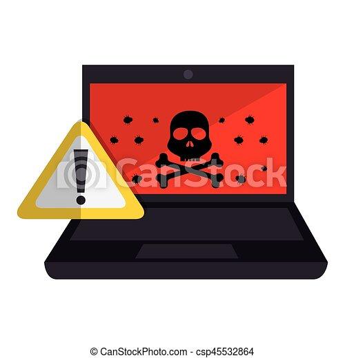 computer with computing alert - csp45532864