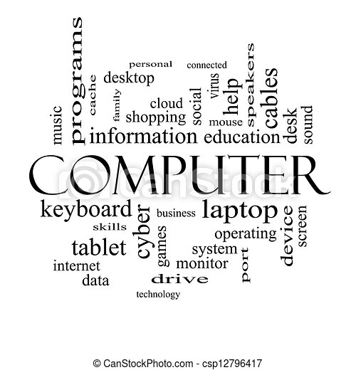 Computer word cloud concept in black and white with great terms such as laptop tablet social cloud and more